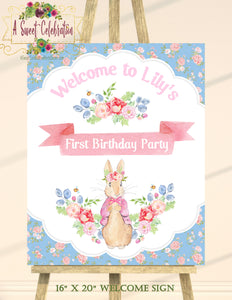 "PETER RABBIT FLORAL - PERSONALIZED 16""x20"" WELCOME SIGN PRINTABLE JPG"