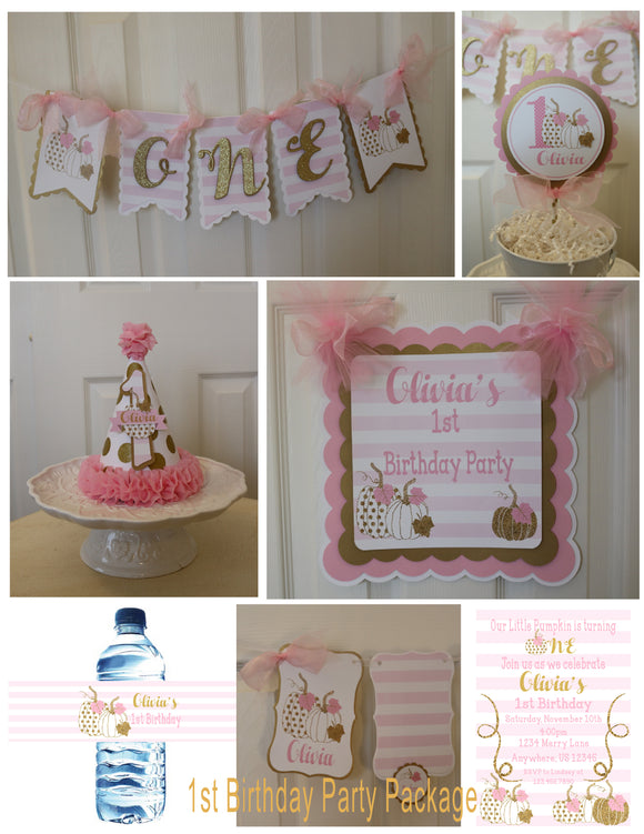 PUMPKIN PINK AND GOLD - 1ST BIRTHDAY PARTY PACKAGE
