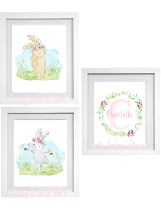 WOODLAND BUNNIES - PINK - PERSONALIZED PRINTS - SET OF 3 PRINTS - JPG ONLY