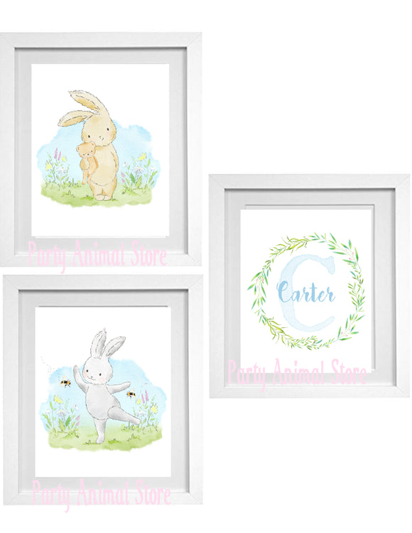 WOODLAND BUNNIES - BLUE- PERSONALIZED PRINTS - SET OF 3 PRINTS - JPG ONLY