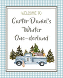 WOODLAND WINTER ONEDERLAND BLUE - PRINTABLE WELCOME SIGN