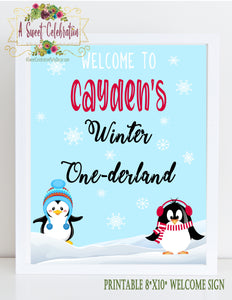CUTE PENGUINS WINTER ONEDERLAND RED - PRINTABLE WELCOME SIGN