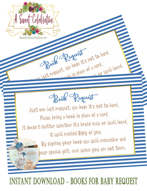 NAUTICAL LITTLE SAILOR - BABY SHOWER - BOOK INSTEAD OF A CARD REQUEST - INSTANT DIGITAL DOWNLOAD - PRINTABLE BUNNY SAILOR