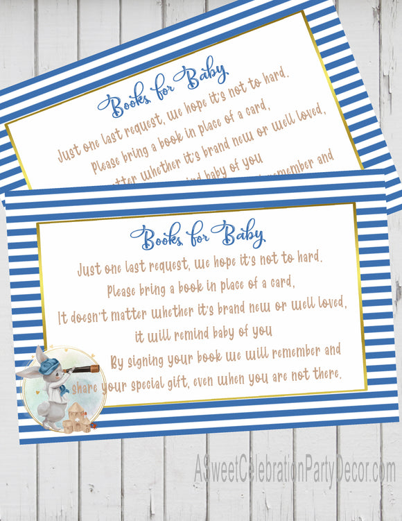 NAUTICAL LITTLE SAILOR - BABY SHOWER - BOOK INSTEAD OF A CARD REQUEST - BUNNY SAILOR