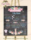 PETER RABBIT FLORAL - PRINTABLE CHALKBOARD 1ST BIRTHDAY MILESTONE SIGN