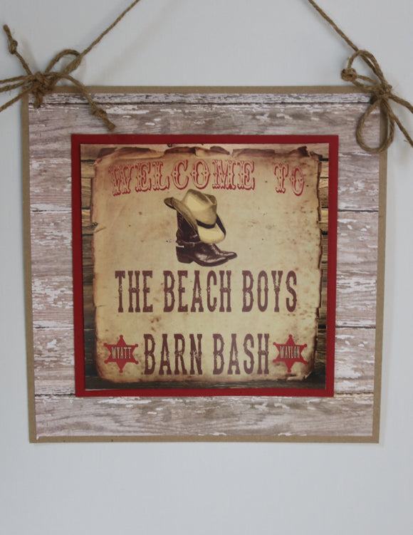 COWBOY BOOTS - WELCOME DOOR BANNER