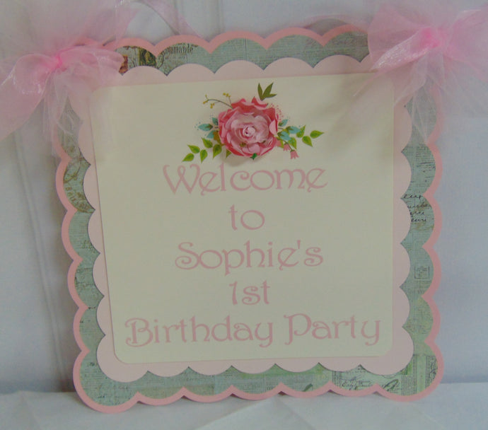 FLORAL SHABBY CHIC - WELCOME DOOR BANNER