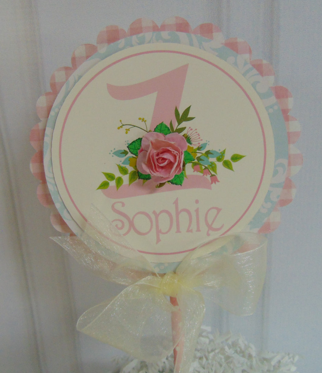 FLORAL SHABBY CHIC -  CAKE TOPPER