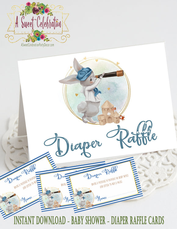 NAUTICAL LITTLE SAILOR - BABY SHOWER - DIAPER RAFFLE CARDS WITH FREE MATCHING TABLE TENT - INSTANT DIGITAL DOWNLOAD - PRINTABLE BUNNY SAILOR
