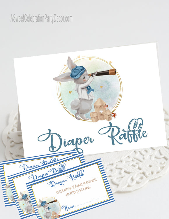 NAUTICAL LITTLE SAILOR - BABY SHOWER - DIAPER RAFFLE CARDS WITH MATCHING TABLE TENT - BUNNY SAILOR