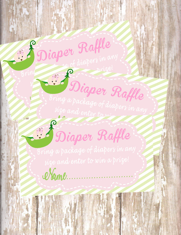 SWEET PEA - BABY SHOWER  DIAPER RAFFLE CARDS