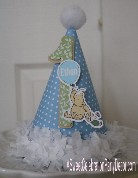 CLASSIC WINNIE THE POOH WITH BALLOON BLUE - BIRTHDAY PARTY HAT