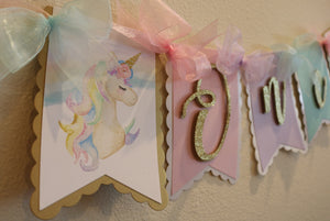 UNICORN - PASTEL RAINBOW HIGH CHAIR BANNER