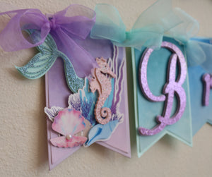 MERMAID - UNDER THE SEA - HAPPY BIRTHDAY BANNER