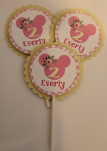 MINNIE MOUSE FLORAL LEMONADE - CUPCAKE TOPPERS LEMONADE PINK AND YELLOW