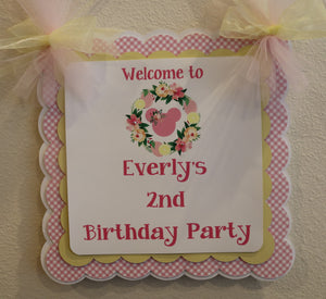 MINNIE MOUSE FLORAL LEMONADE -  DOOR BANNER - LEMONADE PINK AND YELLOW