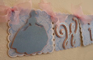CINDERELLA PRINCESS HAPPY BIRTHDAY BANNER