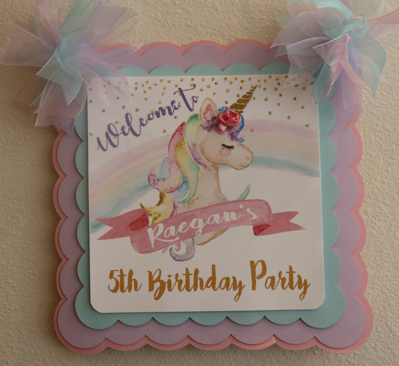 UNICORN - PASTEL RAINBOW - WELCOME DOOR BANNER