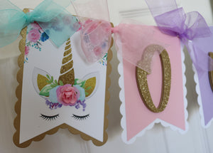 UNICORN FLORAL -  HIGH CHAIR BANNER - ANY AGE AVAILABLE