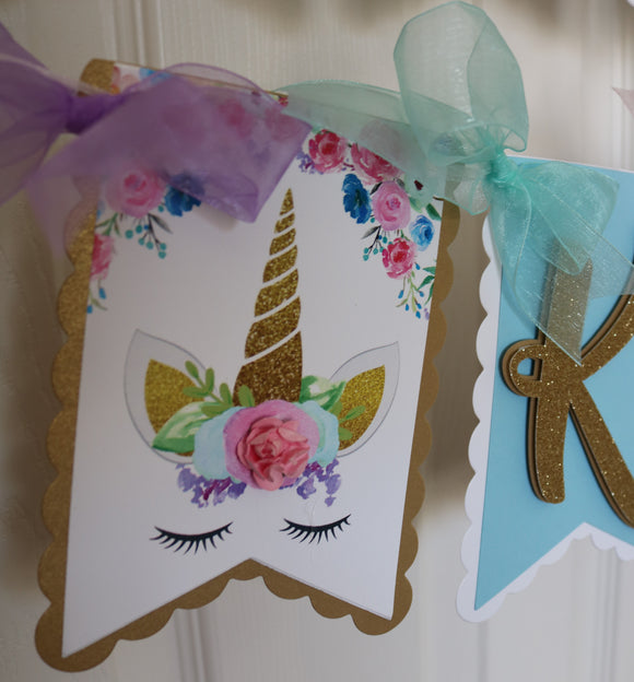 UNICORN FLORAL - HAPPY BIRTHDAY NAME BANNER