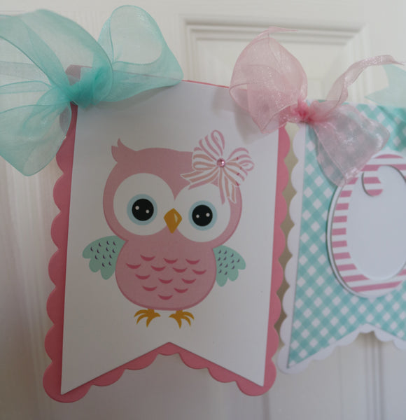 OWL - AQUA HIGH-CHAIR BANNER