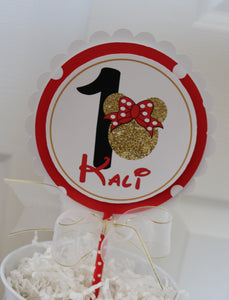 MINNIE MOUSE RED & GOLD CAKE TOPPER
