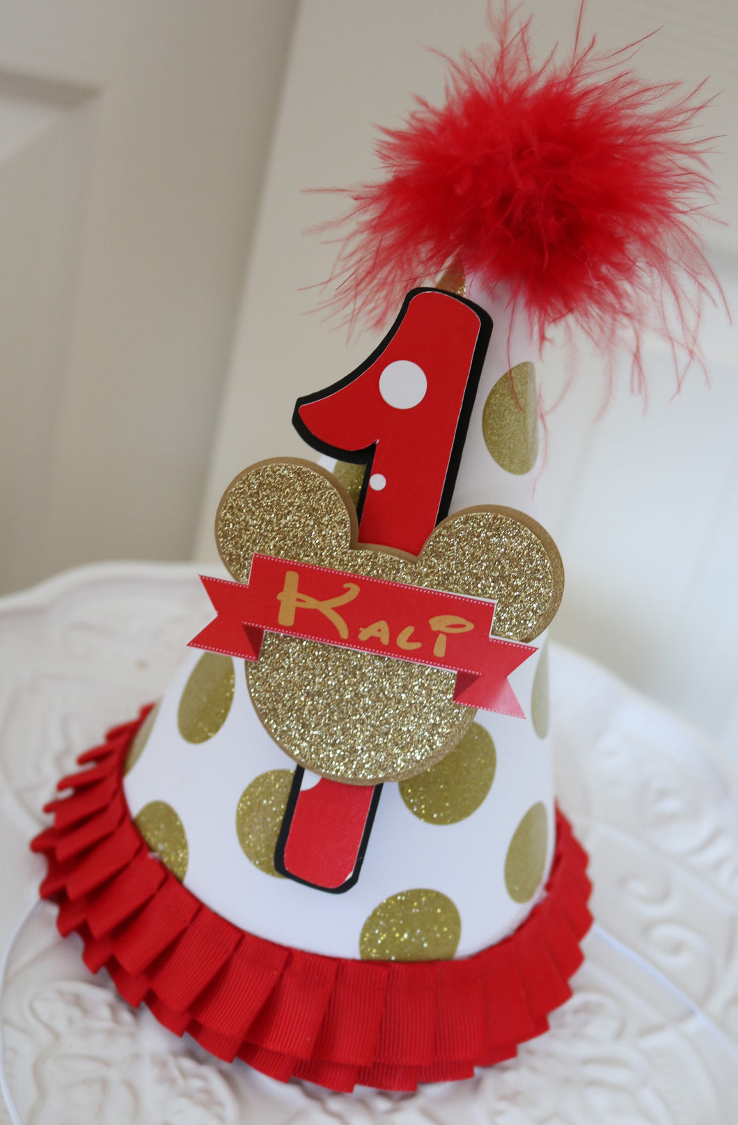 MINNIE MOUSE RED & GOLD BIRTHDAY PARTY HAT