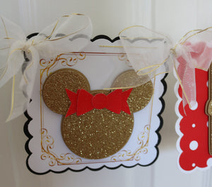 MINNIE MOUSE RED & GOLD HAPPY BIRTHDAY BANNER