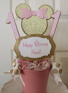 MINNIE MOUSE PINK & GOLD - BIRTHDAY CENTERPIECE
