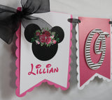 MINNIE MOUSE BLACK FLORAL - HIGH-CHAIR BANNER