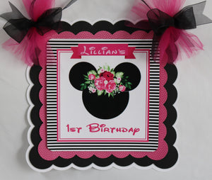 MINNIE MOUSE BLACK FLORAL - DOOR BANNER