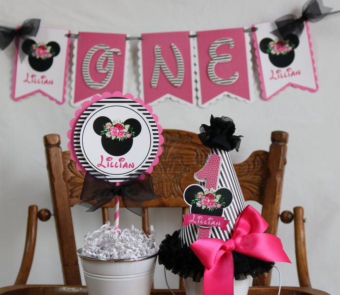 MINNIE MOUSE FLORAL BLACK - 3 pc - SMASH CAKE BIRTHDAY PARTY PACKAGE