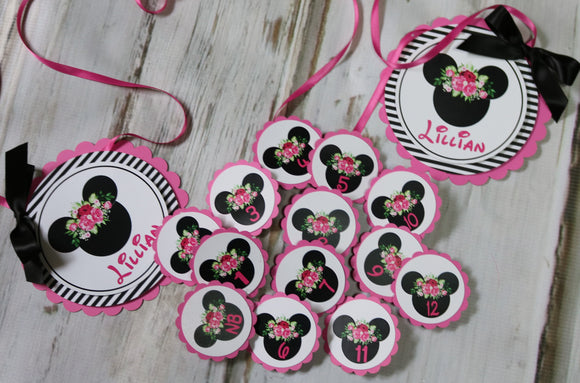 MINNIE MOUSE BLACK FLORAL - 1ST YEAR PHOTO BANNER
