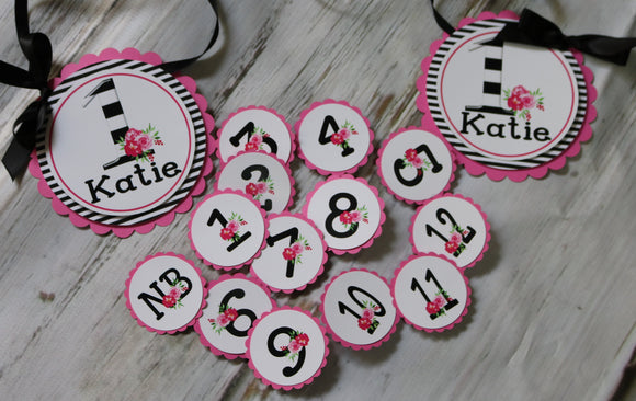 KATE FLORAL - PINK AND BLACK - 1ST YEAR PHOTO BANNER