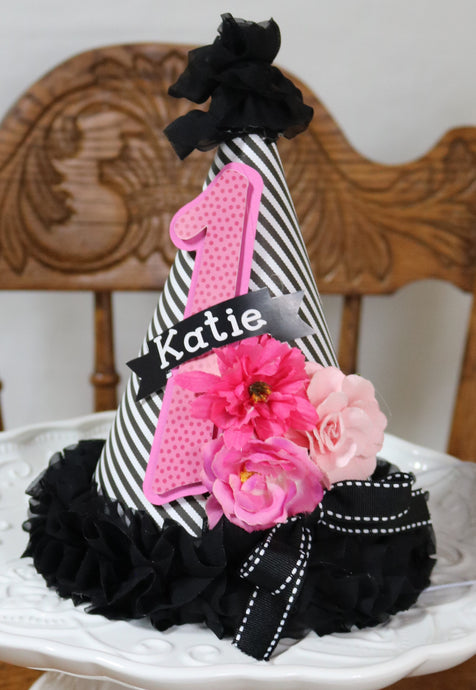 KATE FLORAL PINK AND BLACK- BIRTHDAY PARTY HAT