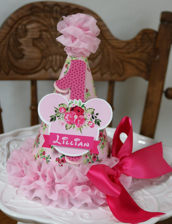 MINNIE MOUSE PINK FLORAL -  BIRTHDAY PARTY HAT