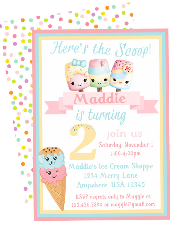 ICE CREAM KAWAII PASTEL - BIRTHDAY - PRINTABLE INVITATION - FREE THANK YOU INCLUDED