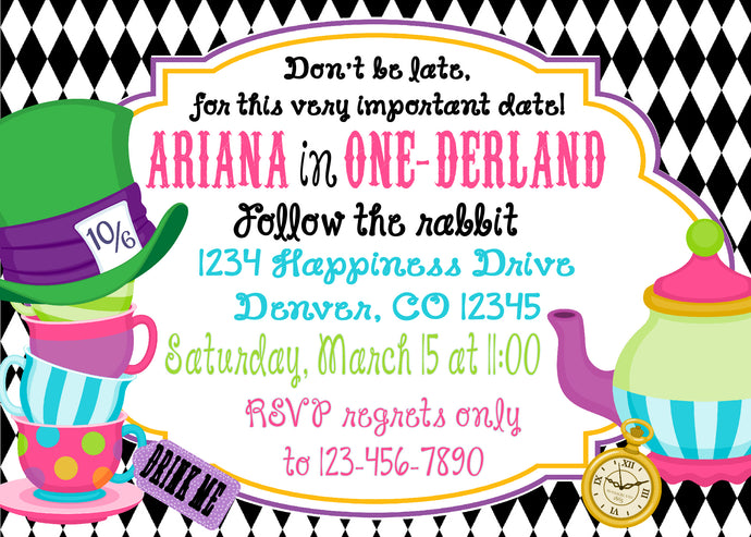 ALICE IN WONDERLAND - BIRTHDAY INVITATION - JPG