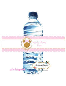 MINNIE MOUSE PINK & GOLD - WATERPROOF WATER BOTTLE LABELS