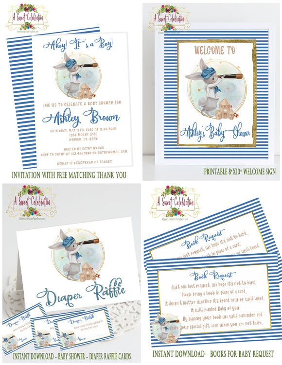 NAUTICAL LITTLE SAILOR - BABY SHOWER PARTY PACKAGE - DIGITAL DOWNLOAD- PRINTABLE - BUNNY SAILOR