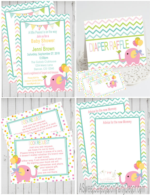 CIRCUS - PINK ELEPHANT- BABY SHOWER  PARTY PACKAGE -  PRINTABLE PARTY PACKAGE - JPG/PDF - DIY