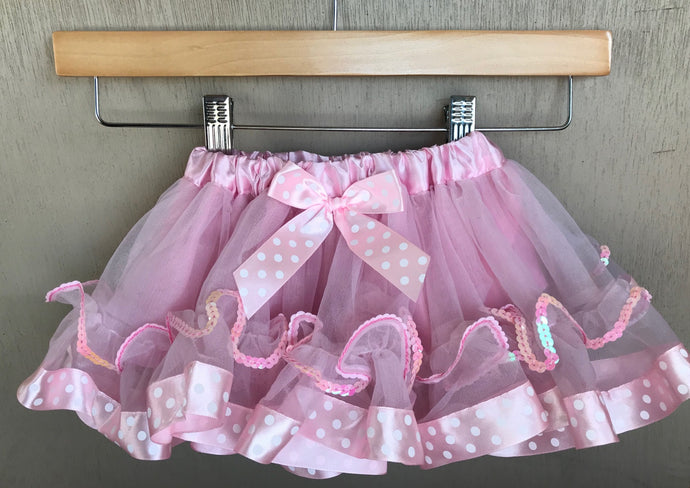 TUTU - PASTEL PINK WHITE POLKA DOT - MINNIE MOUSE