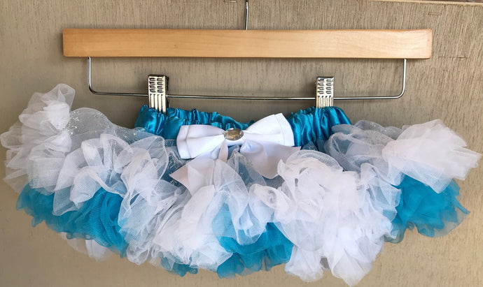 TUTU - FROZEN BLUE AND WHITE SATIN TUTU