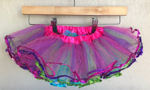 ALICE IN WONDERLAND - TUTU - FUSCHIA TURQUOISE PURPLE LIME SEQUIN TUTU