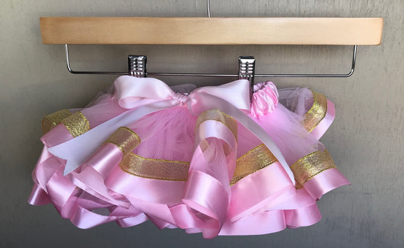 TUTU - PINK AND  GOLD RUFFLE TUTU