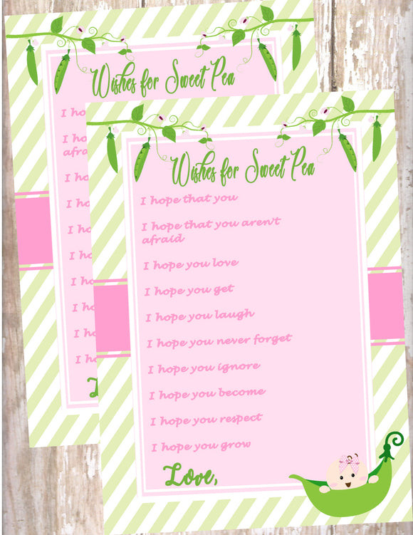 SWEET PEA - BABY SHOWER - PRINTABLE WISHES FOR BABY