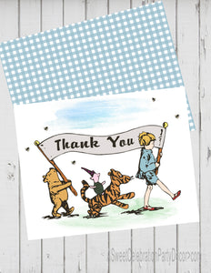 CLASSIC WINNIE THE POOH PARADE BLUE - PRINTABLE THANK YOU'S