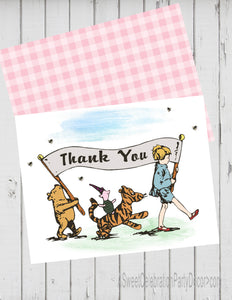 CLASSIC WINNIE THE POOH PARADE PINK - PRINTABLE THANK YOU'S