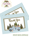 WOODLAND WINTER ONEDERLAND BLUE - PRINTABLE BIRTHDAY INVITATIONS - FREE MATCHING THANK YOU