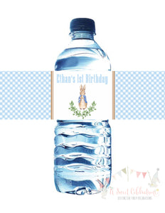 PETER RABBIT WATERCOLOR BLUE - WATERPROOF WATER BOTTLE LABEL